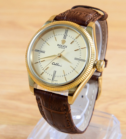 Đồng hồ dây da Rolex Geneve - mẫu 33 gold